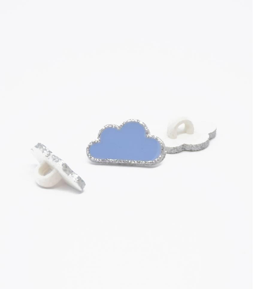 Boutons nuage - ciel/argent