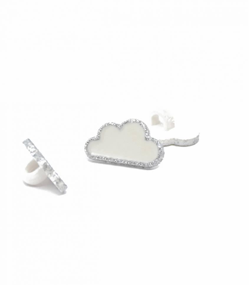 Boutons nuage - blanc/argent