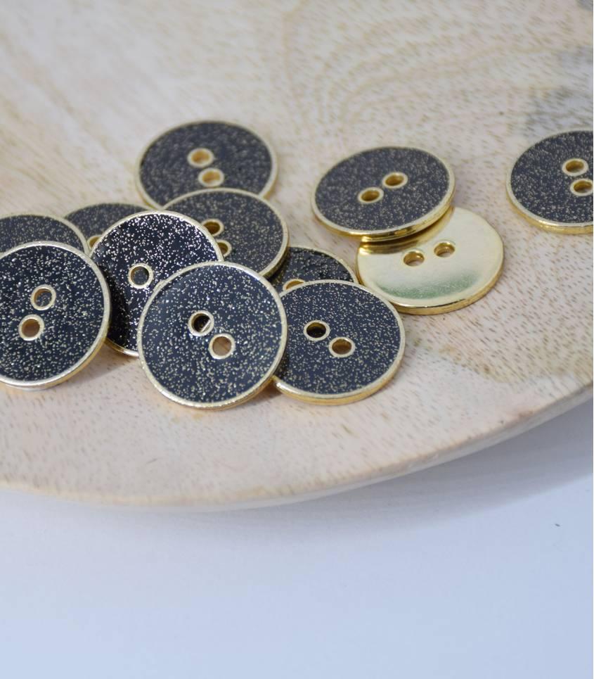 Boutons métal noir/doré