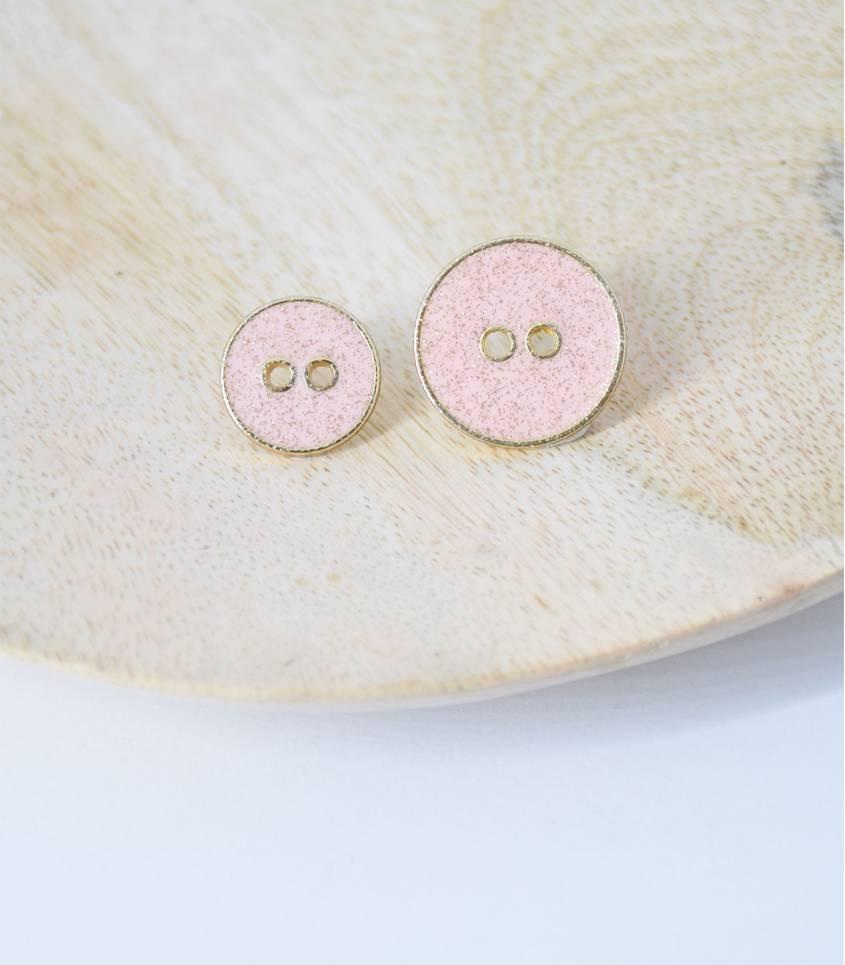 Boutons métal rose/doré