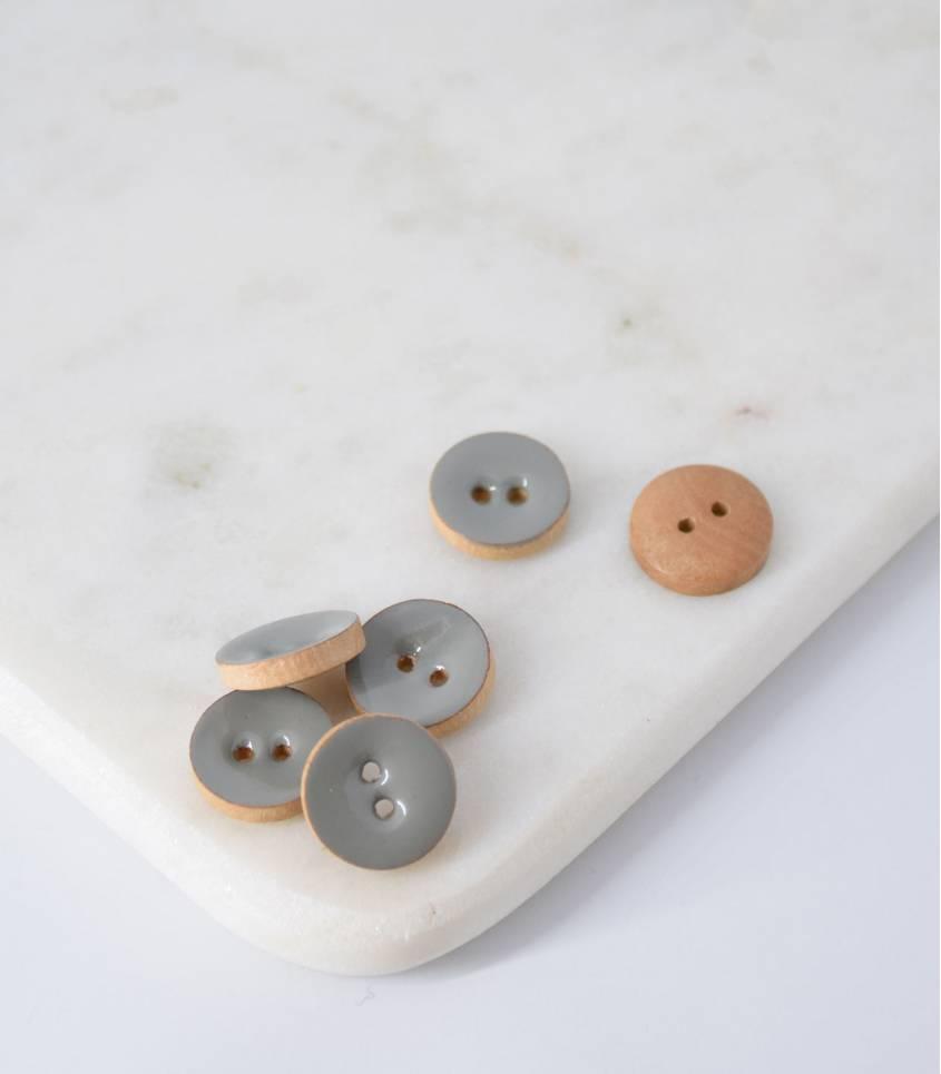 Boutons bois peint gris- 15mm