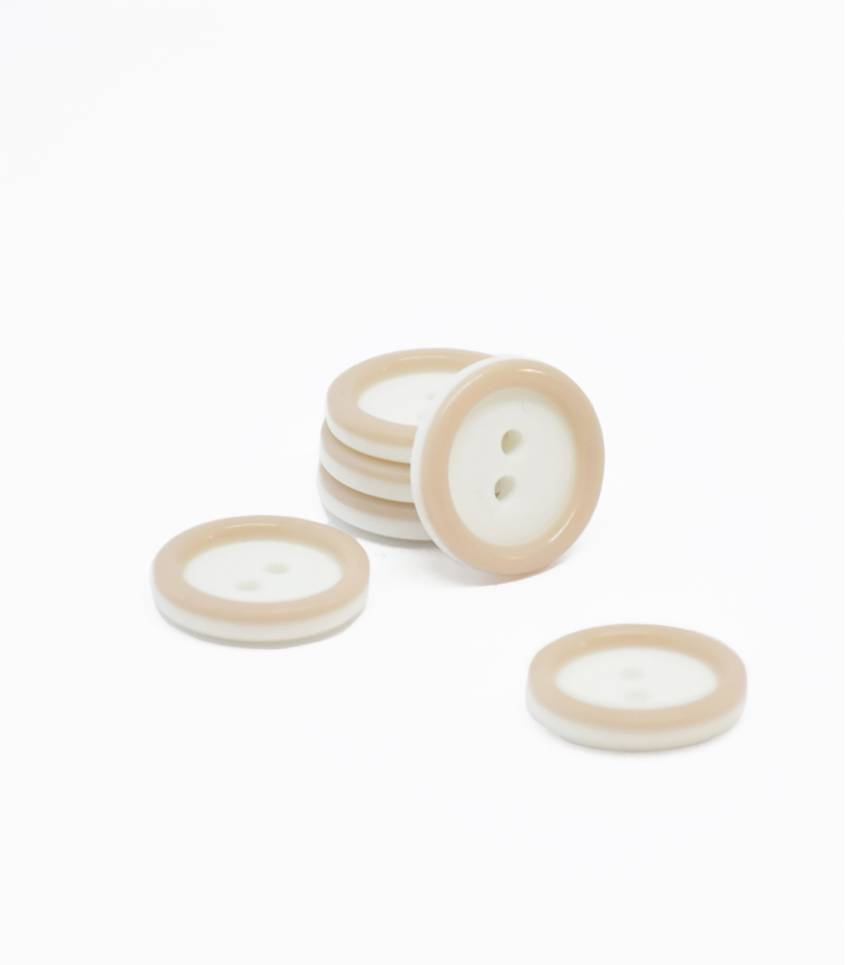 Boutons blanc/beige 14mm