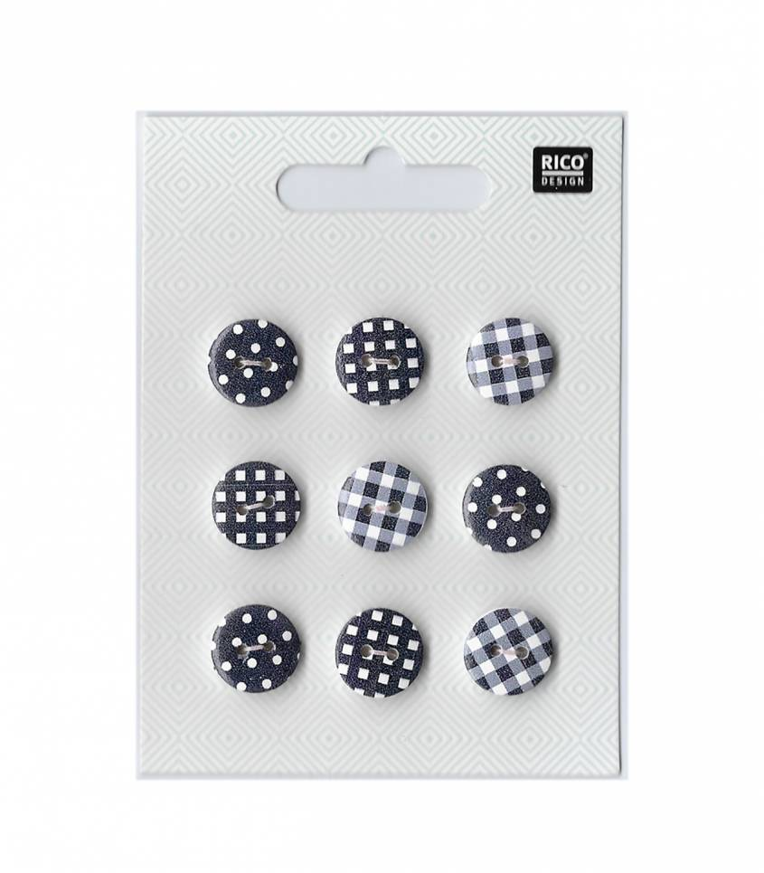 Boutons 14mm - mix vichy/pois