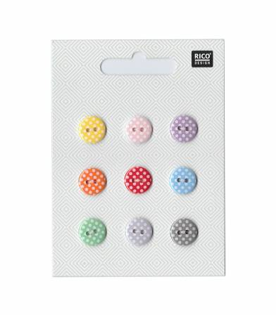 Boutons 12mm - mix pois multico