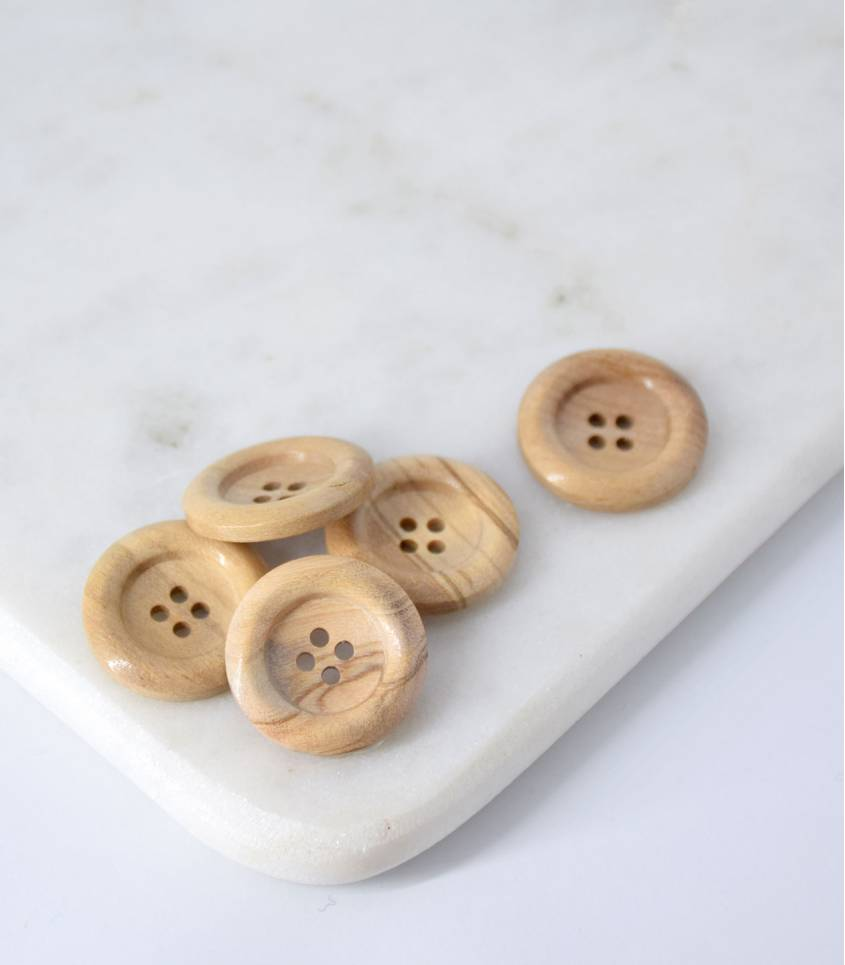 Boutons bois naturel - bord arrondi- 23mm