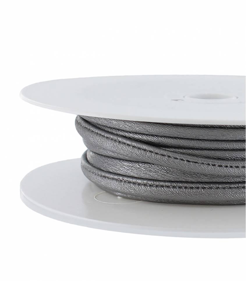 Cordon simili cuir - argent