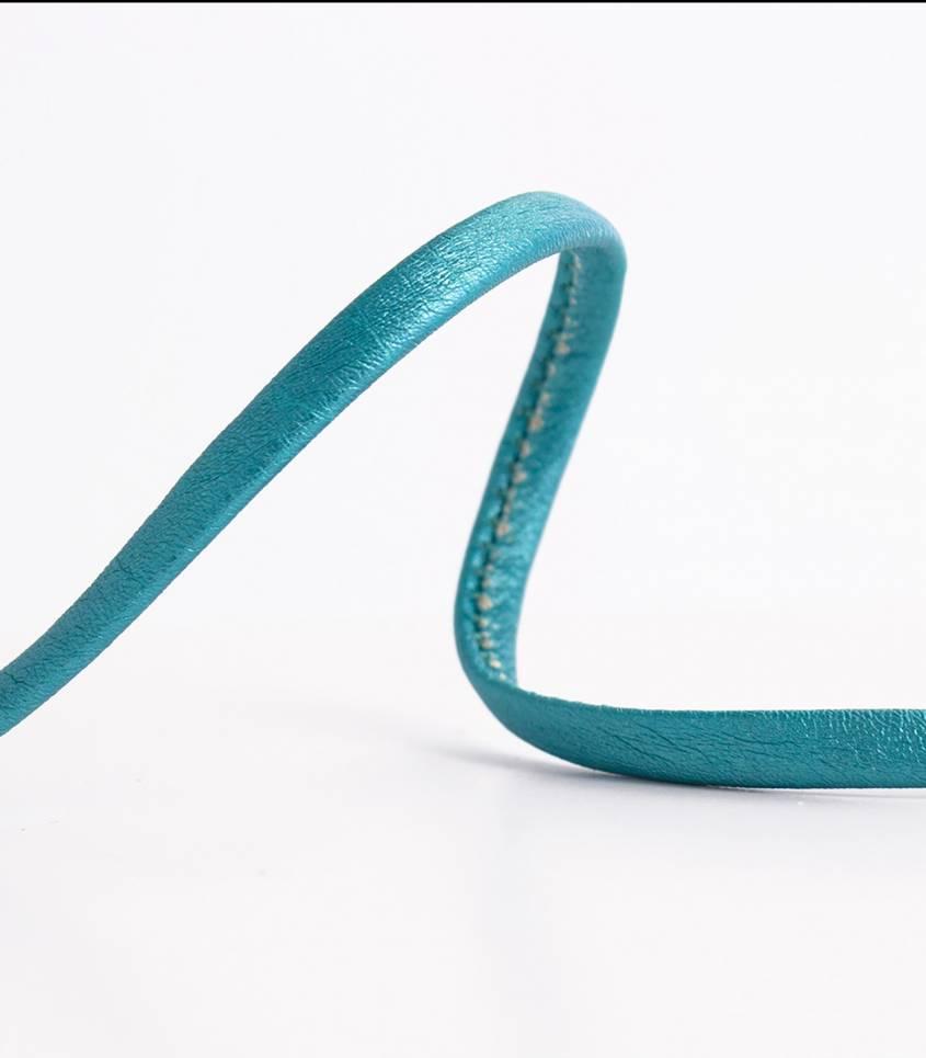 Cordon simili cuir - turquoise