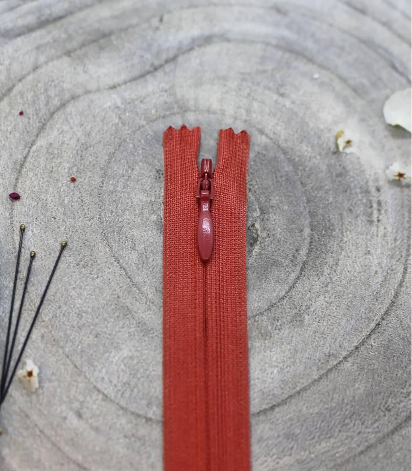 Fermeture à glissière invisible- Terracotta