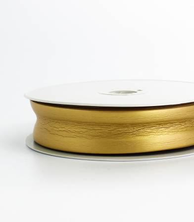 Biais simili cuir métallisé or