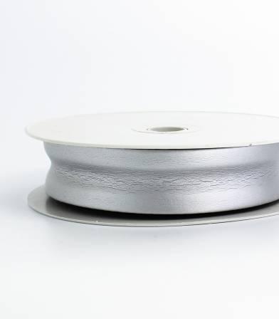 Biais simili cuir métallisé argent