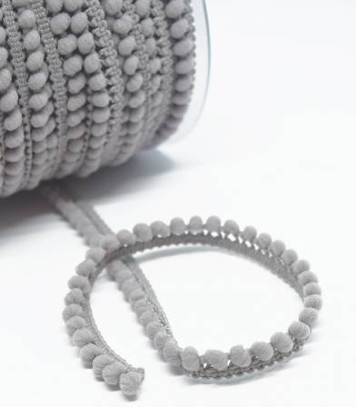 Galon pompons 5mm - gris perle