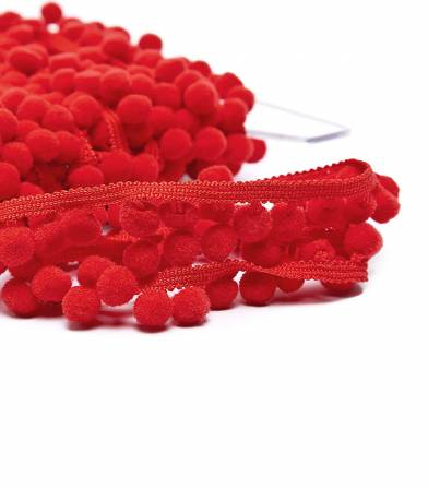 Galon pompons 10mm - rouge