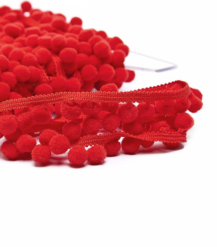Galon pompons 10mm - rouge