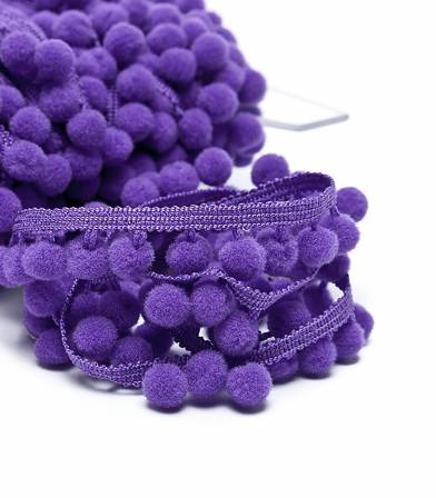 Galon pompons 10mm - violet