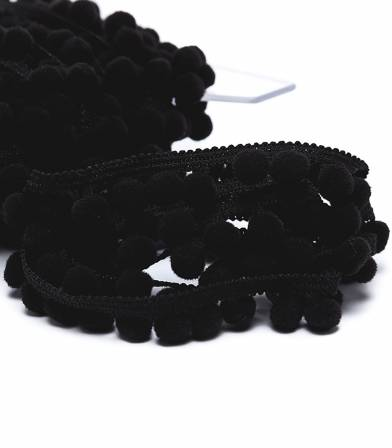 Galon pompons 10mm - noir