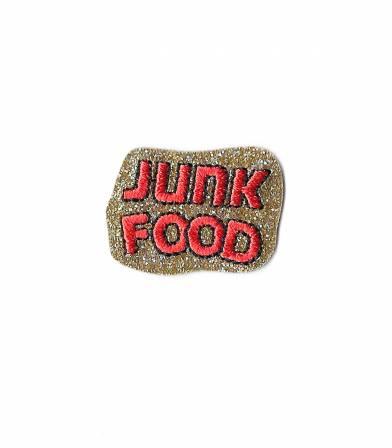 Ecusson thermocollant Junk food - doré
