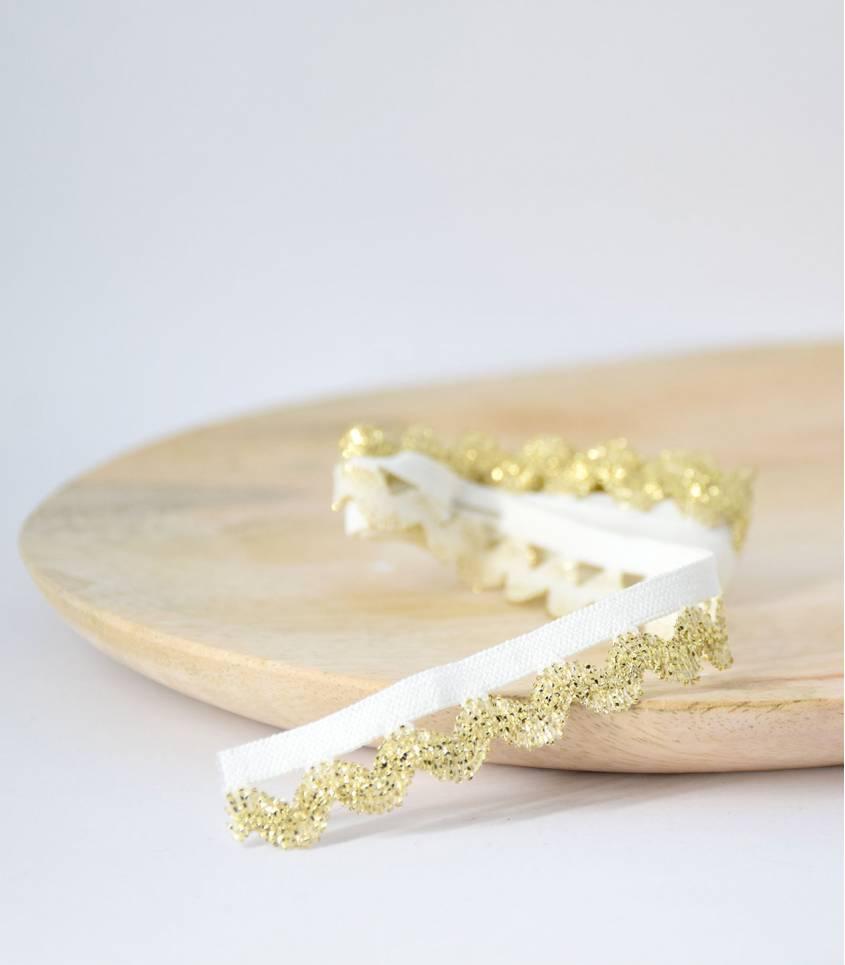 Elastique croquet blanc/or