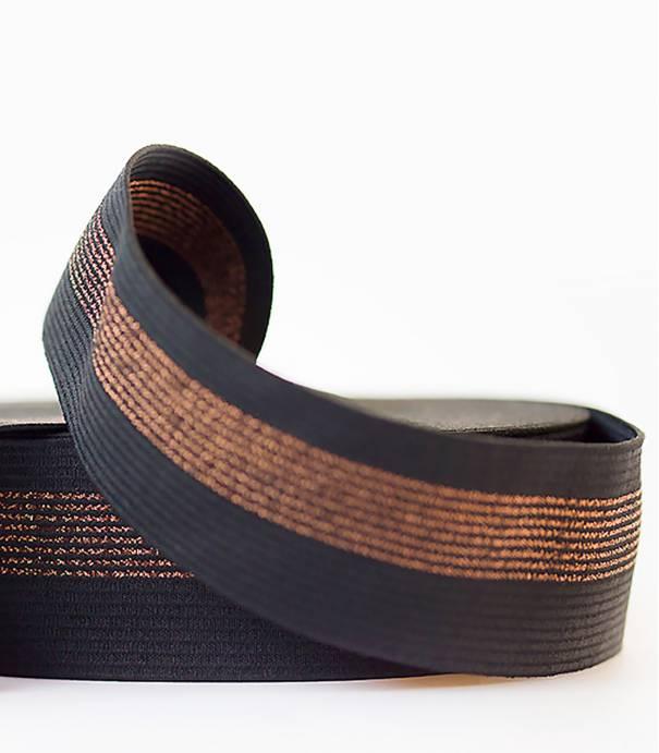Ceinture élastique - Noir/lignes cuivres