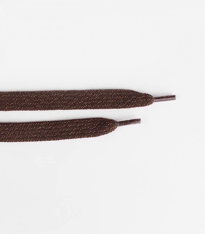 Lacets brun/lurex cuivre