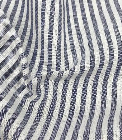 Tissu Lin coton rayures - marine