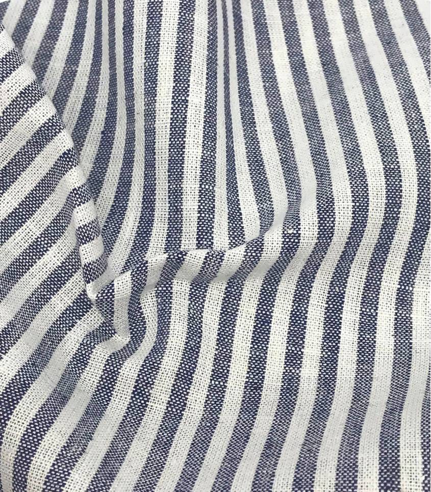 Tissu Lin/coton rayures - marine