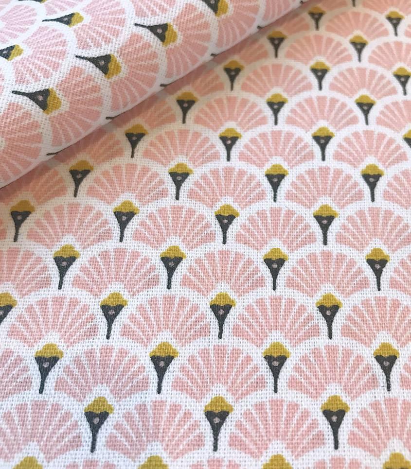 Tissu enduit Eventails rose / dorés