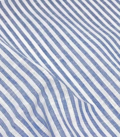 Tissu Lin coton rayures - azur