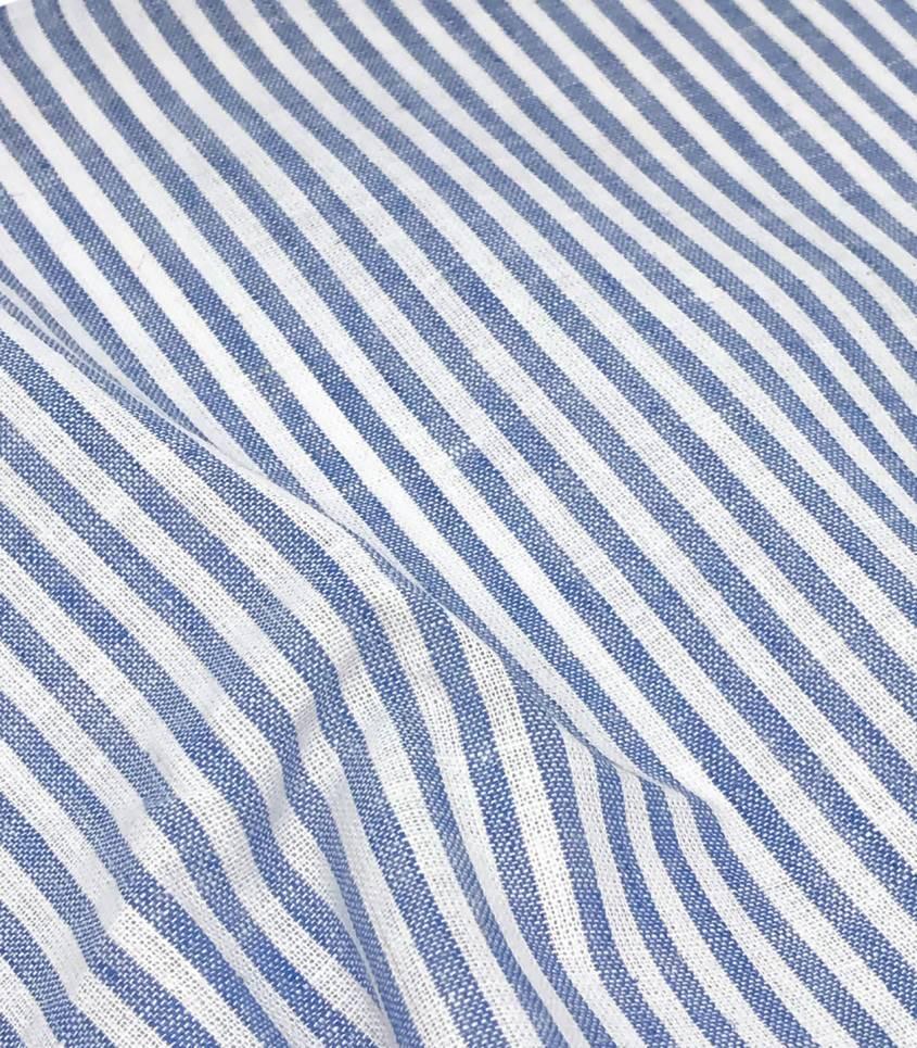 Tissu Lin/coton rayures - azur