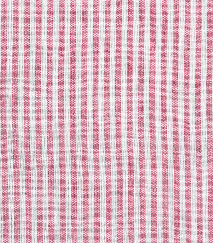 Tissu lin / coton rayures - rouge