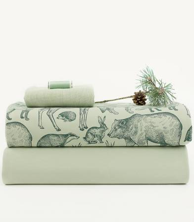 Tissu French terry FOREST ANIMALS - Aqua gray
