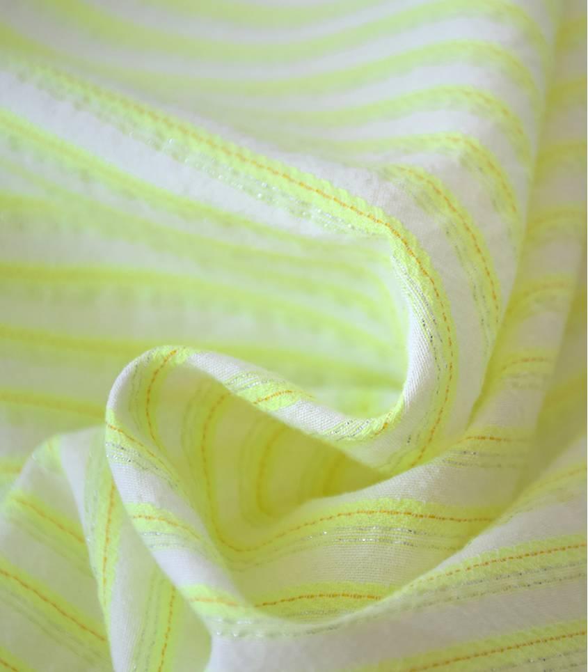 Tissu rayures Austin - jaune fluo