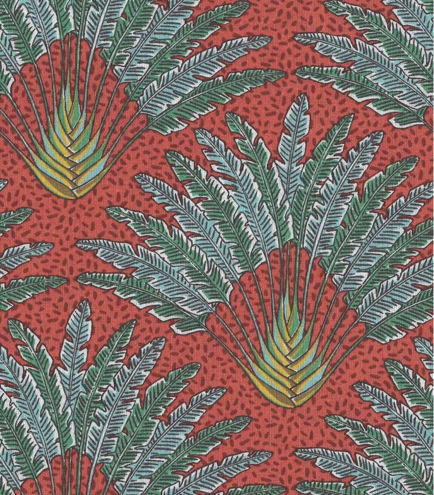 Tissu fleuri Madagascar - Paprika