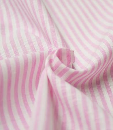 Tissu lin coton rayures - rose