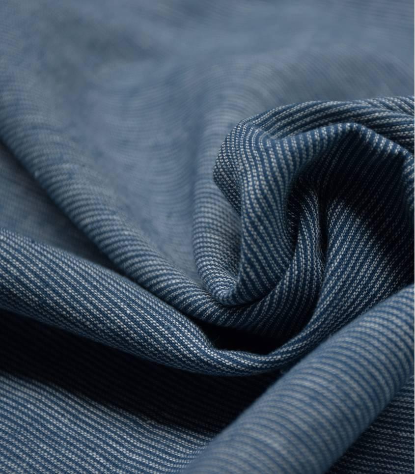 Tissu lin / coton rayé - cyan