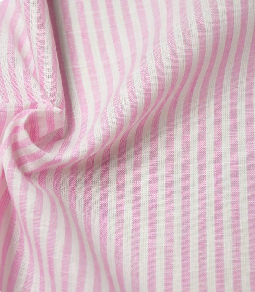 Tissu lin / coton rayures - rose