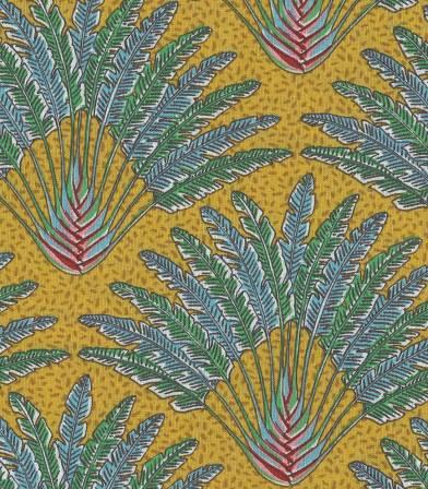 Tissu fleuri Madagascar - Curry