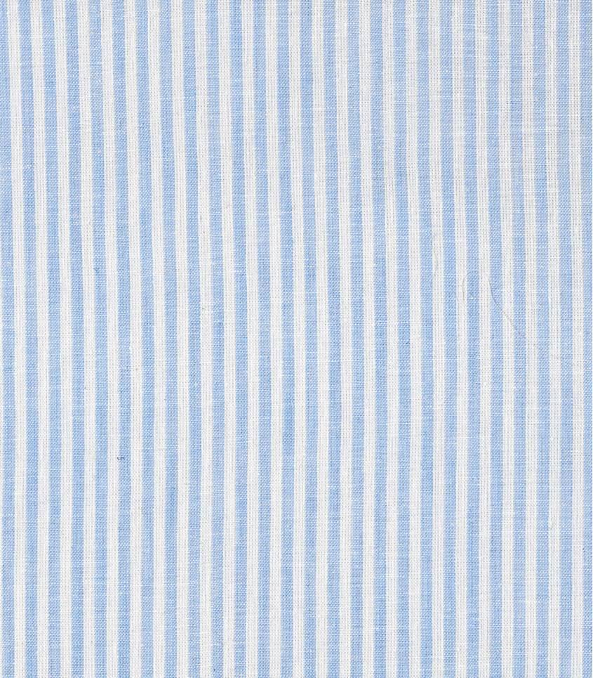 Tissu lin / coton rayures - ciel