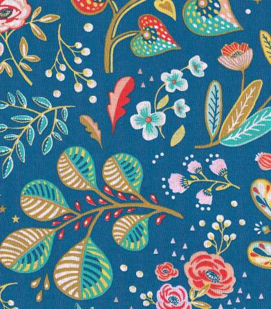 Tissu fleuri Ancolie - Cyan