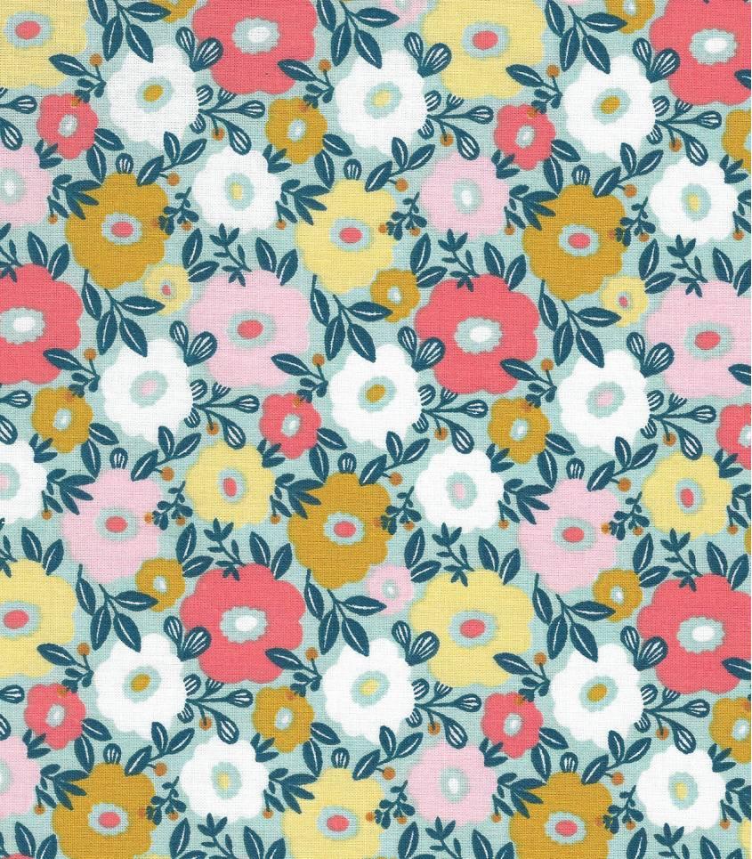Tissu fleuri Camille - Menthe