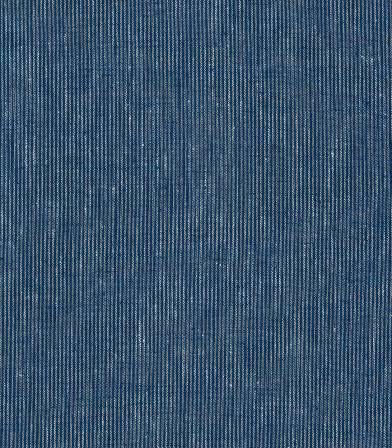 Tissu lin coton rayé - cyan