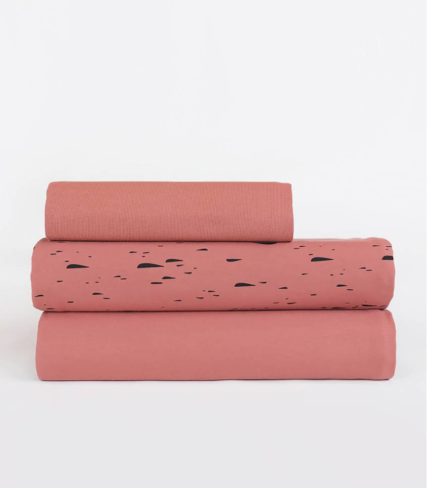Tissu French terry cribble cloud -  Desert wood pink
