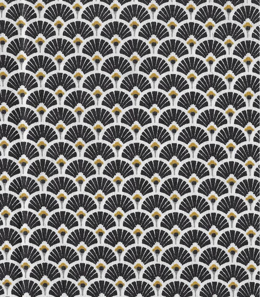 Tissu enduit Eventails noirs / dorés