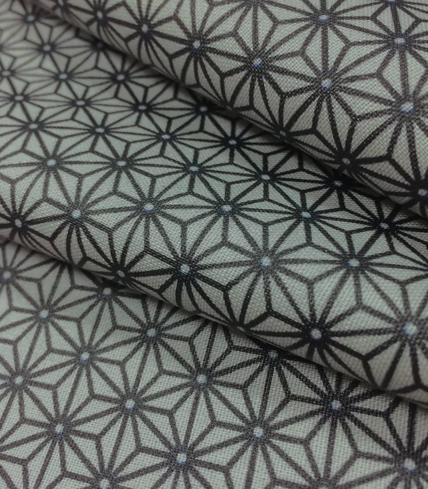 Tissu enduit Saki gris/indigo