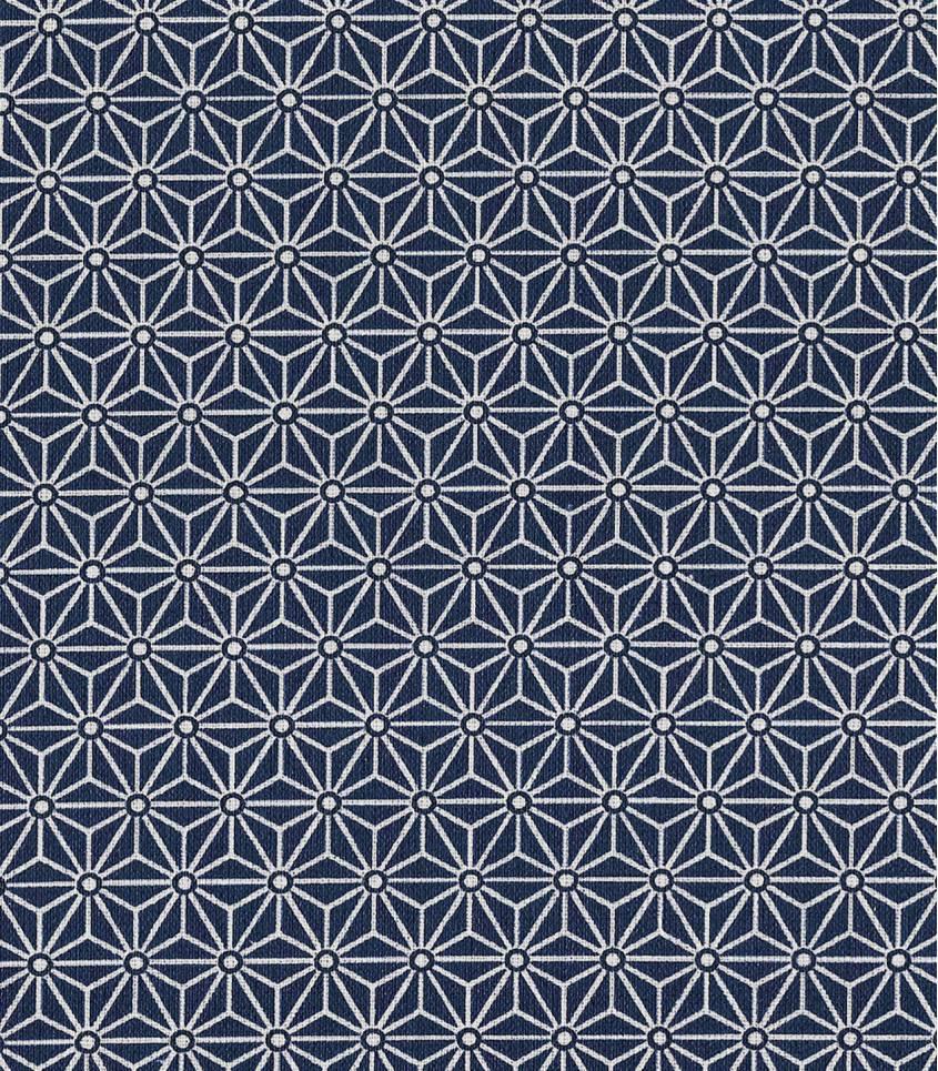 Tissu enduit Saki bleu marine/blanc