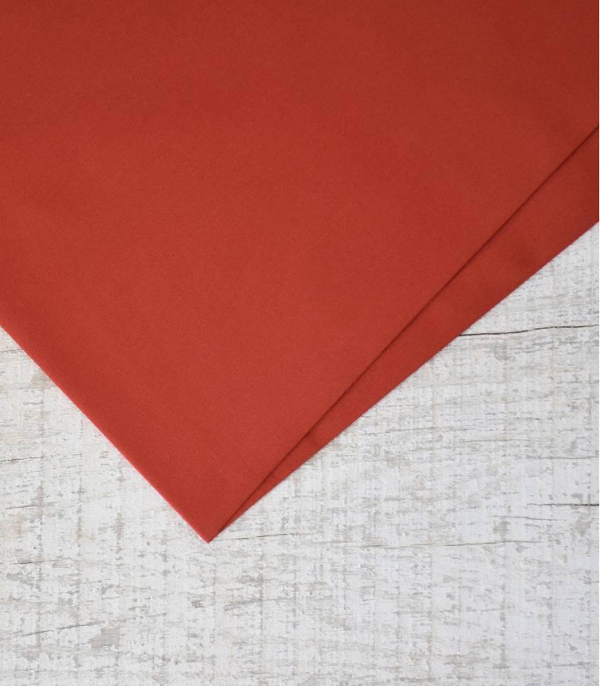 Tissu popeline de coton rouge brique