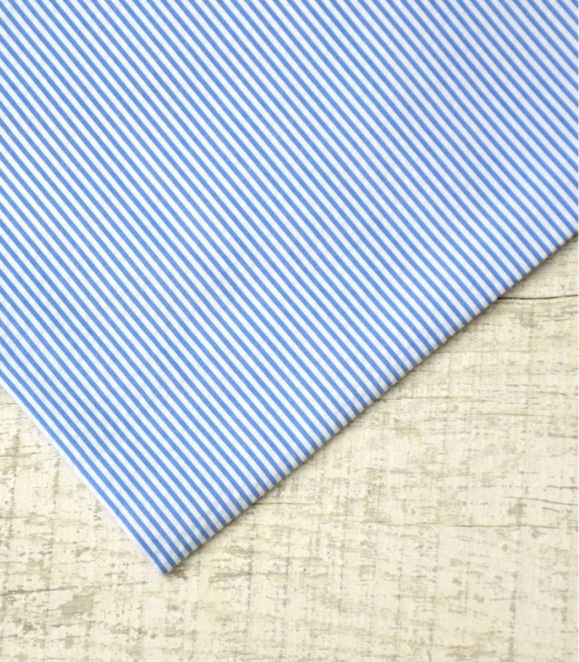 Seersucker fines rayures bleues