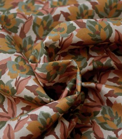 Tissu coton bio - Fleurs d'automne