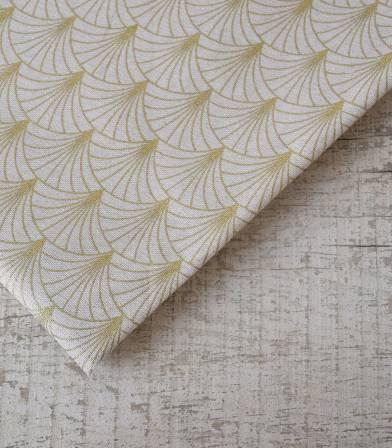Tissu canvas - Art Déco écru gold