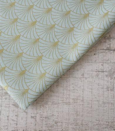 Tissu canvas - Art Déco turquoise gold