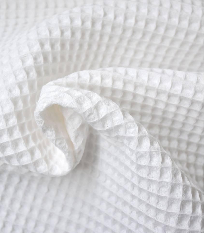 Tissu coton Nid d'abeille - Blanc